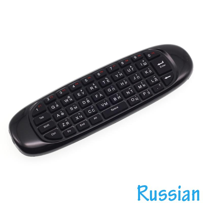 [100pcs/lot] C120 Russian Keyboard 2.4G Mini Wireless Keyboard Gyroscope Air Mouse for Android TV Box, Mini PC, Projectors
