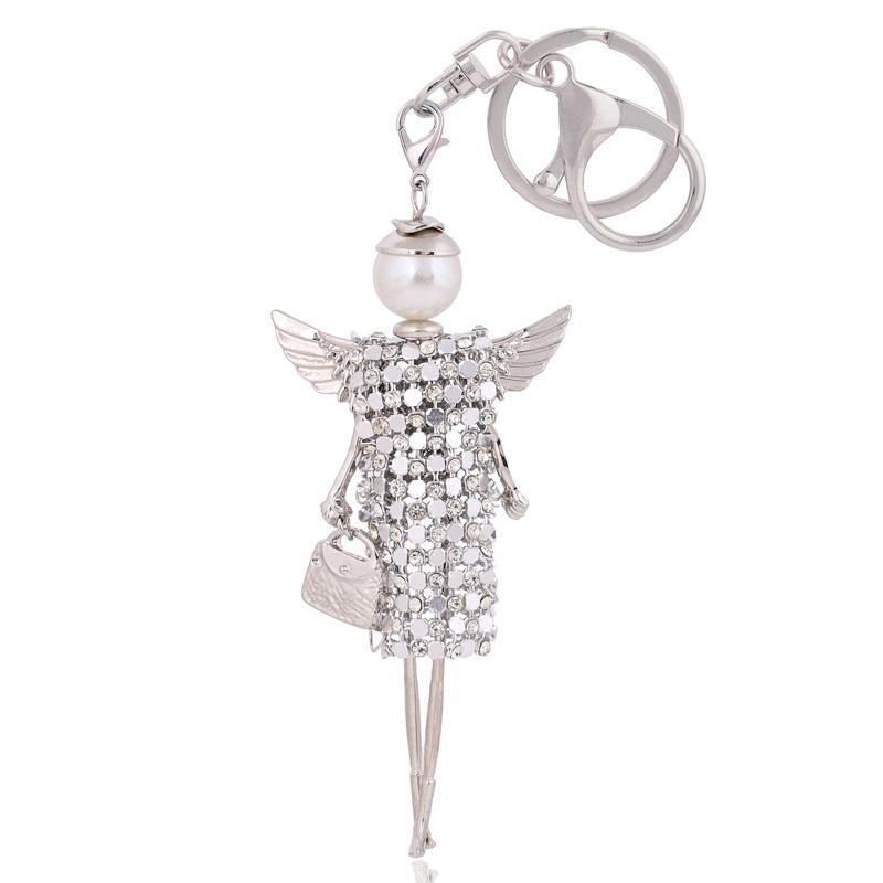 eb34ee3826d7 Cute Doll Angel Wings Crystal Key Chain Rhinestone Keyring Women Bag ...