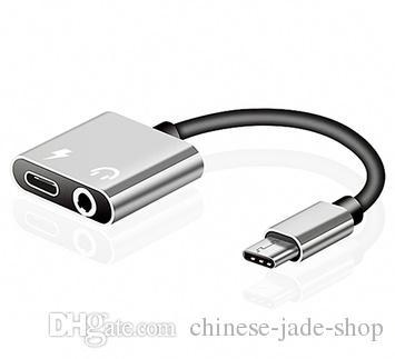 2 IN 1 타입 C AUX 오디오 케이블 어댑터 USB 타입 C ~ 3.5mm 이어폰 잭 삼성 스마트 폰 / 용 충전 충전 어댑터