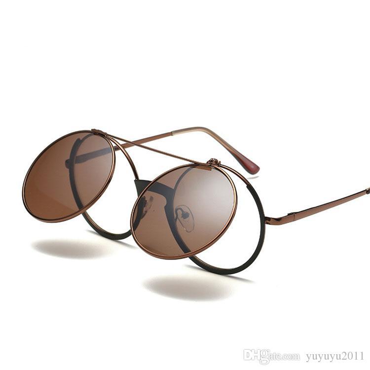 2018 Moda VINTAGE Ronda STEAMPUNK Flip Up Lens Gafas de sol Clamshell Retro Marca Diseño Gafas de Sol Oculos De Sol