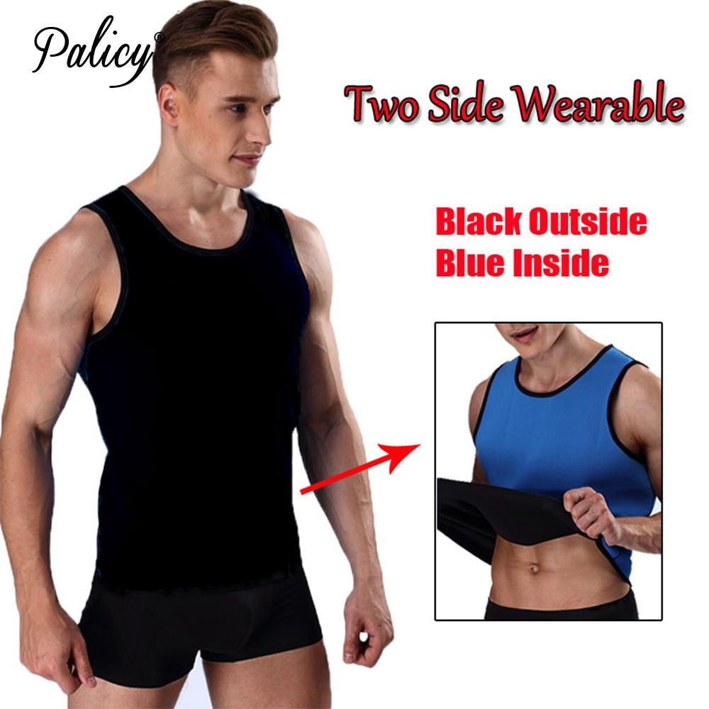 33d5a8083f2ad 2019 Men S S 3XL 2 Sides Wear Slim Sauna Suit Neoprene Body Shaper Waist  Trainer Weight Loss Vest Top Male Spandex Bodysuit From Meinuo004