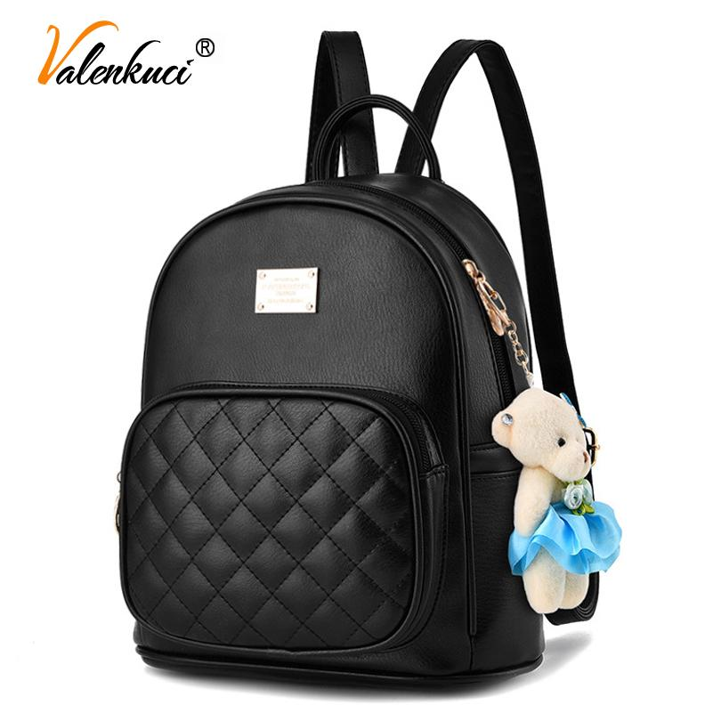 359e91994903 Valenkuci Fashion 2017 Women Backpacks Fashion Leather Lady Black Backpack  High Quality Girls Travel School Bag BD 199 Hiking Backpack Swiss Gear  Backpack ...