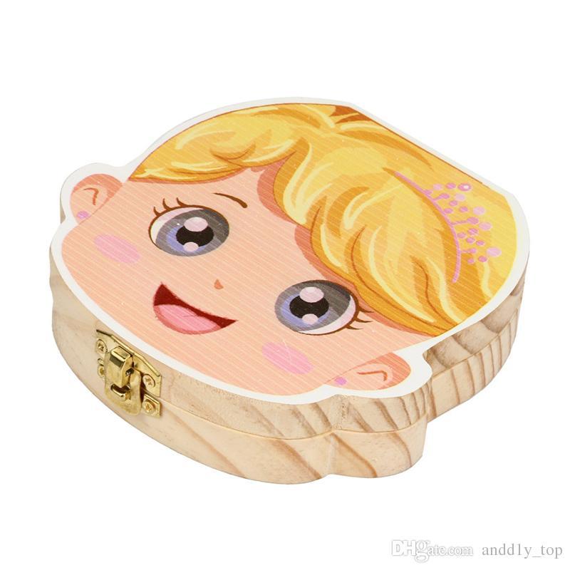 Kinder Zahn Aufbewahrungsbox Junge Mädchen Zahn Sammlung Box Malerei Holz Aufbewahrungsbox Organizer für Baby Milchzähne Säuglingshaar
