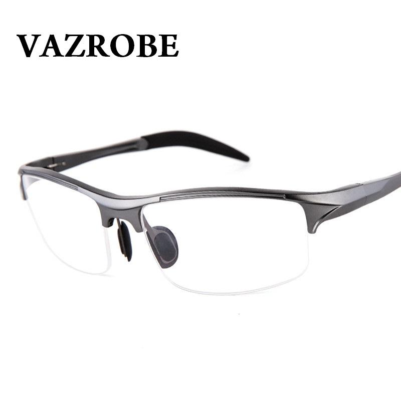 cef137db0a 2019 Vazrobe 146mm Eyeglasses Frame Men Sports Spring Hinge Eye Glasses  Male Half Rim Prescription Spectacles Man Myopia Diopter From Ancient88