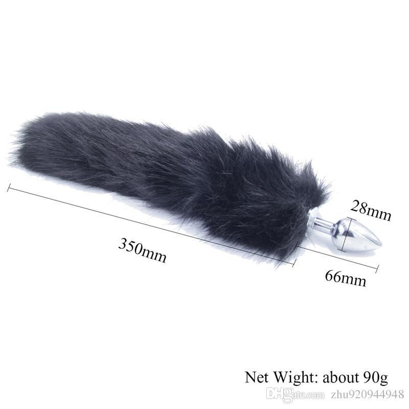 Il sesso adulto divertente del metallo della spina anale di estremità della coda di Fox del faux nero gioca i prodotti erotici di flirt della donna i giochi adulti