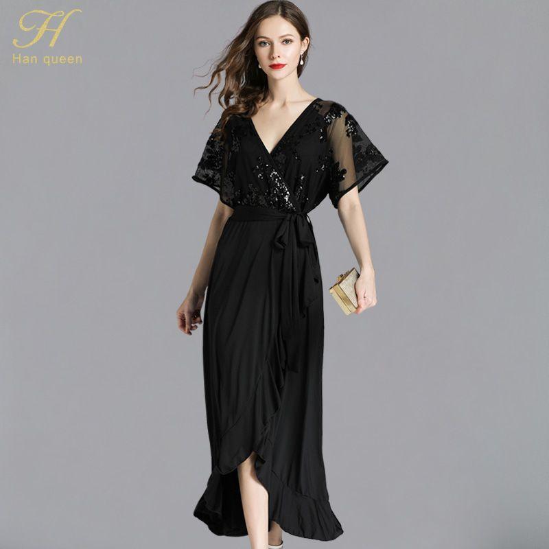 f89c2d2bd48 2019 H Han Queen Sexy Sequins Black Dress S 5XL Summer Fashion Women'S Long  Runway Vestidos Casual Party Slim Chiffon Dresses From Fullcolor, ...