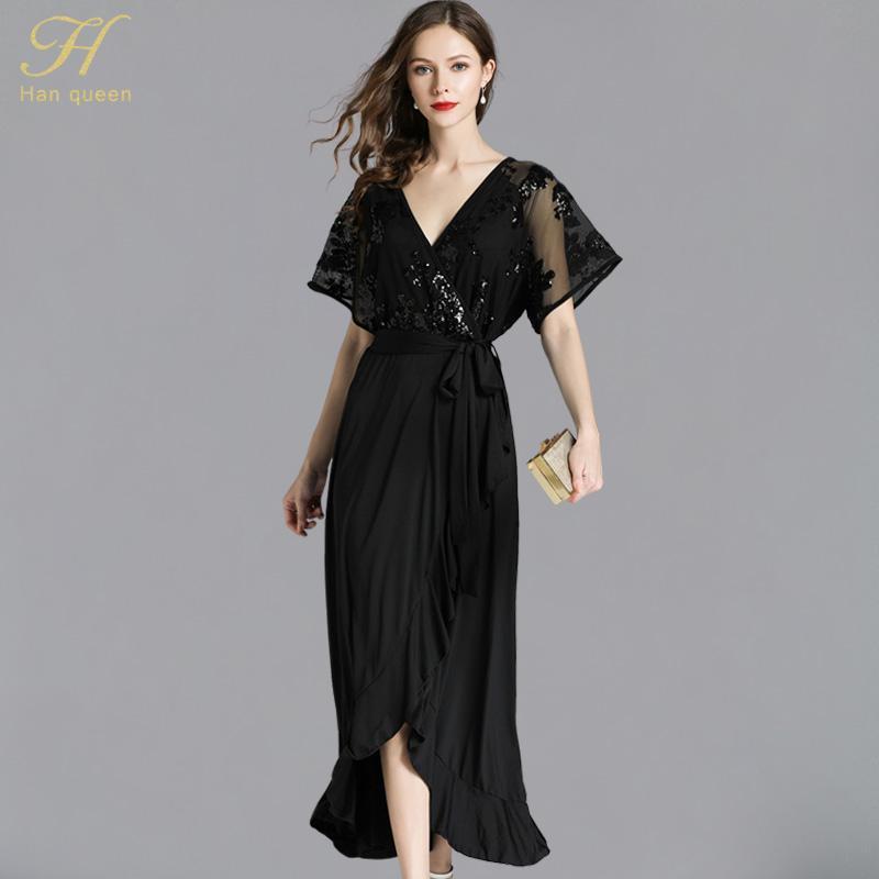 978bcbd7617 Acheter H Han Reine Sexy Paillettes Robe Noire S 5XL Mode Été Femmes ...
