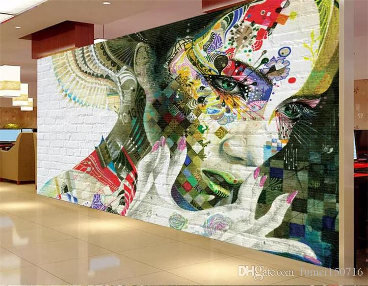 custom photo 3d wallpaper mural non-woven Graffiti painted beauty TV background wall painting living room wallpaper for walls 3d