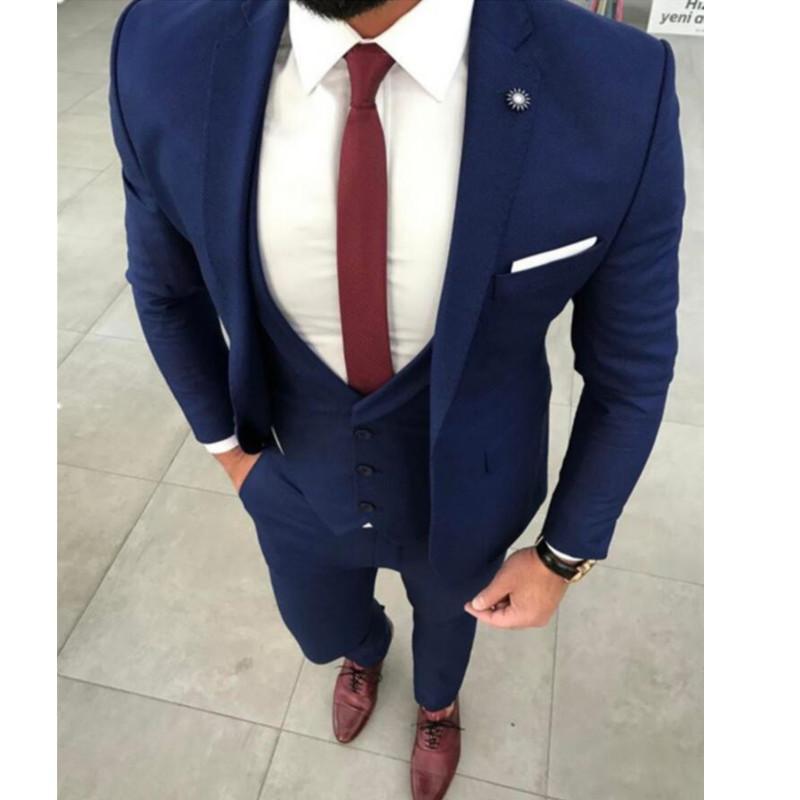 9d9dafec07b66 Compre Chaqueta De Traje De Hombre Azul Marino Personalizado Prom Tuxedo  Slim Fit 3 Piezas De Estilo Novio Vestidos De Chaqueta Personalizado  Chaqueta + ...