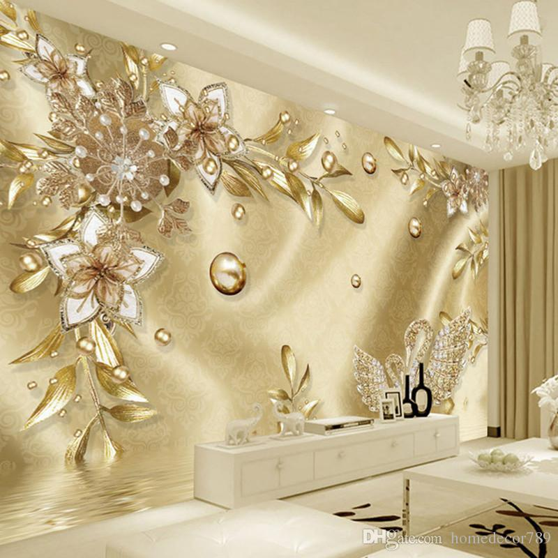 European Style Luxury Golden 3D Flower Jewelry Damascus Pattern Background Decoration Mural Wallpaper For Living Room Home Decor Phone Wallpaper Phone ...