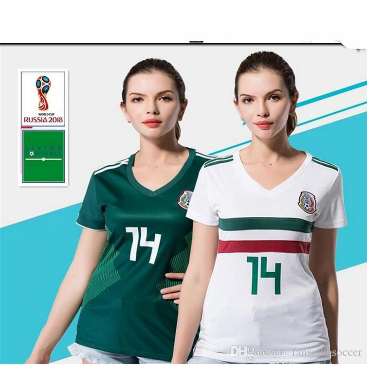 62d43dd8b Mexico Women Home Soccer Jersey 2018 World Cup  14 CHICHARITO Mexico ...