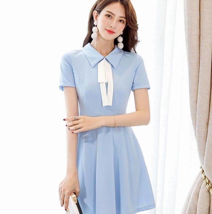 3f9ff988461 Cute Sweet Korean Style Bowknot Short Sleeve A-line Summer Casual Women  Dress Online with  12.44 Piece on Angelsdress s Store