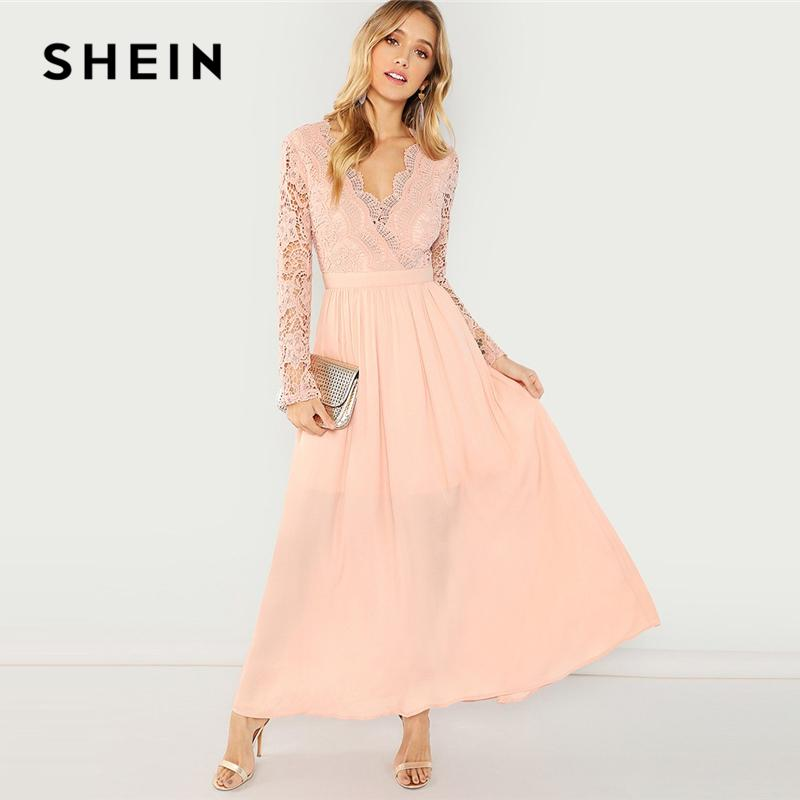 bf730b88d7 2019 SHEIN Pink Party Elegant Fit And Flare V Neck Contrast Lace Backless  Dress 2018 Women Long Sleeve Autumn A Line Maxi Dresses From Zhenhuang, ...