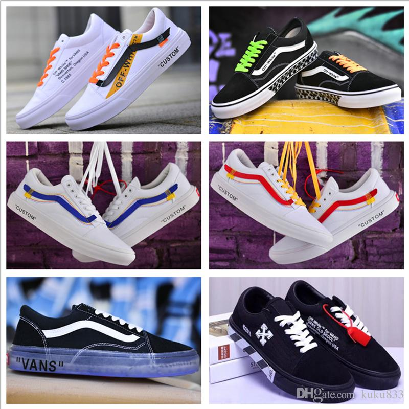 85cd1eeccf08 2018 VANSES Old Skool Canvas Casual Shoes Men Women Skateboard X Willy  Sports Shoes White Black Custom Skate Sneakers Trainers Size 36 44 Dress  Shoes Wedge ...