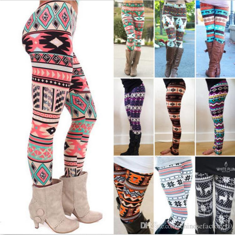 2d26866d4334f 2019 2XL Christmas Snowflakes Reindeer Printed Silk Stretchy Leggings Women  Colorful Stripe Plaid Nordic Pants Girls Adult Warm Tights Large Size From  ...
