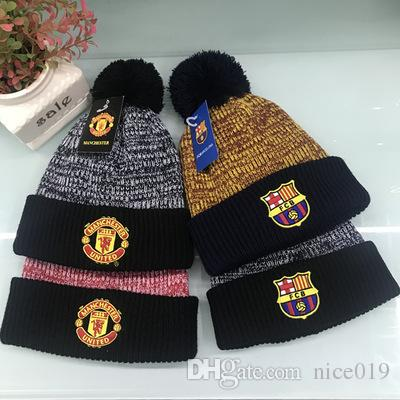 d94c40c9895 Soccer Knitted Hats Winter Warm Knitted Hat Logo Letters Patchwork ...