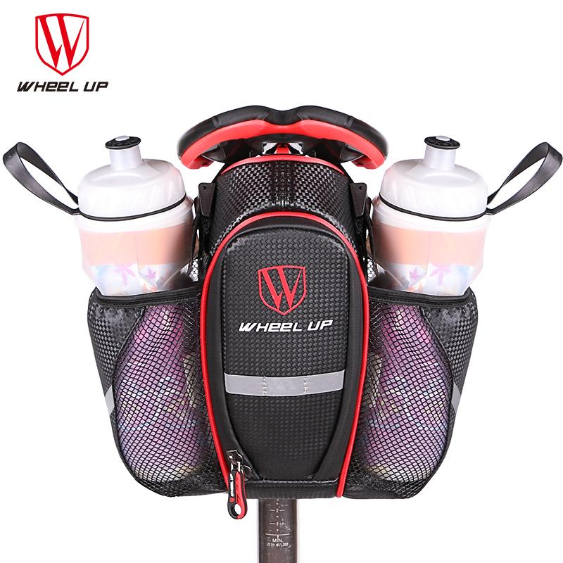 New 2 Water Bottle Pockets Bicycle Seat Bag 900D Mountain MTB Road Bike Seat Bag Rear Tail Pouch Bottle Bicycle Bags Accessories