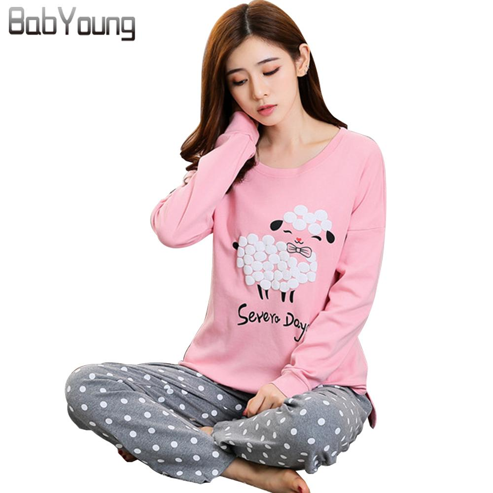 0ace8fb150 2019 BabYoung 2017 Winter Pyjamas Cotton Women Pajamas Sets Pijamas Mujer  Sheep Pattern Femme Long Sleeve Sleepwear Female Homewear From Seein