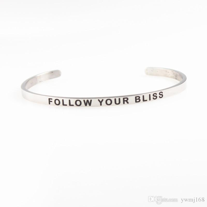 2018 New Silver Stainless Steel Engraved BALANCE Positive Inspirational Hand Stamped Cuff Bracelet Bangle For Women Best Gifts