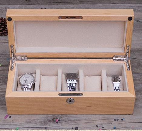 Vintage Real Wooden Watch Box Organizer 5 Grid Retro Glass Solid Lock Super Luxury Gift Brand Watches Jewelry Case Box Storage