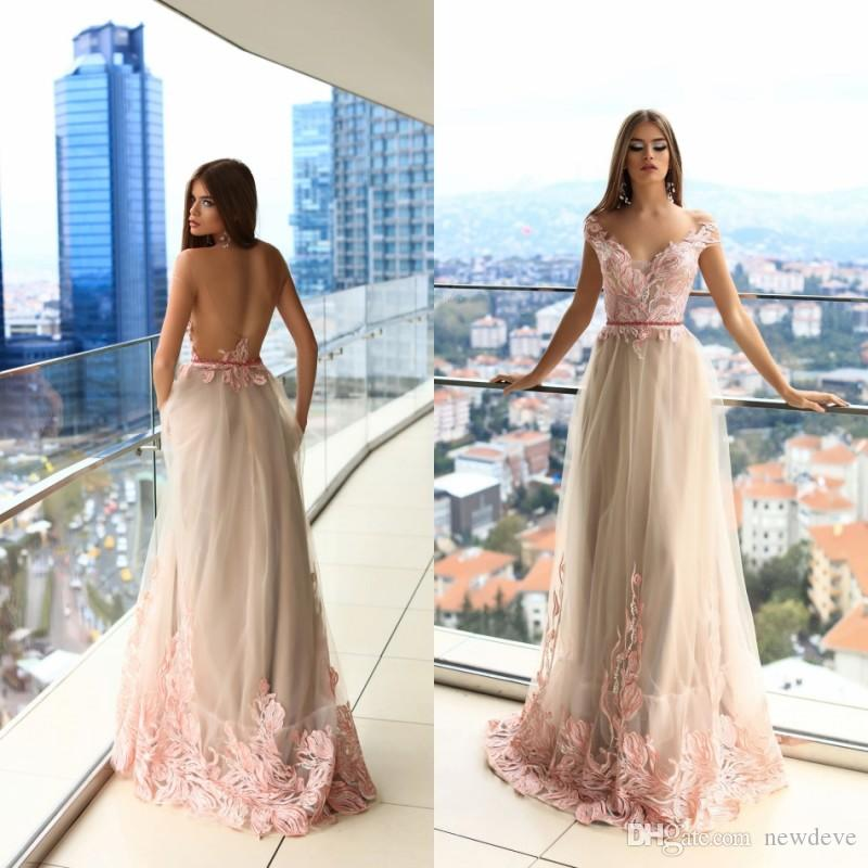 8e6fecb098 2019 Latest Pink Flower Evening Dresses Off Shoulder Tulle Sleeveless  Illusion Long Formal Party Wear Lace Applique Custom Made Prom Dresses Lace  Evening ...