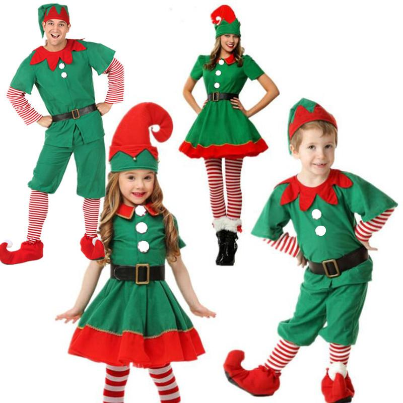 55b59b091 2018 Women Men Boy Girl Christmas Elf Costume Kids Adults Family Green Elf  Cosplay Costumes Carnival Party Supplies Purim Original Group Halloween  Costumes ...