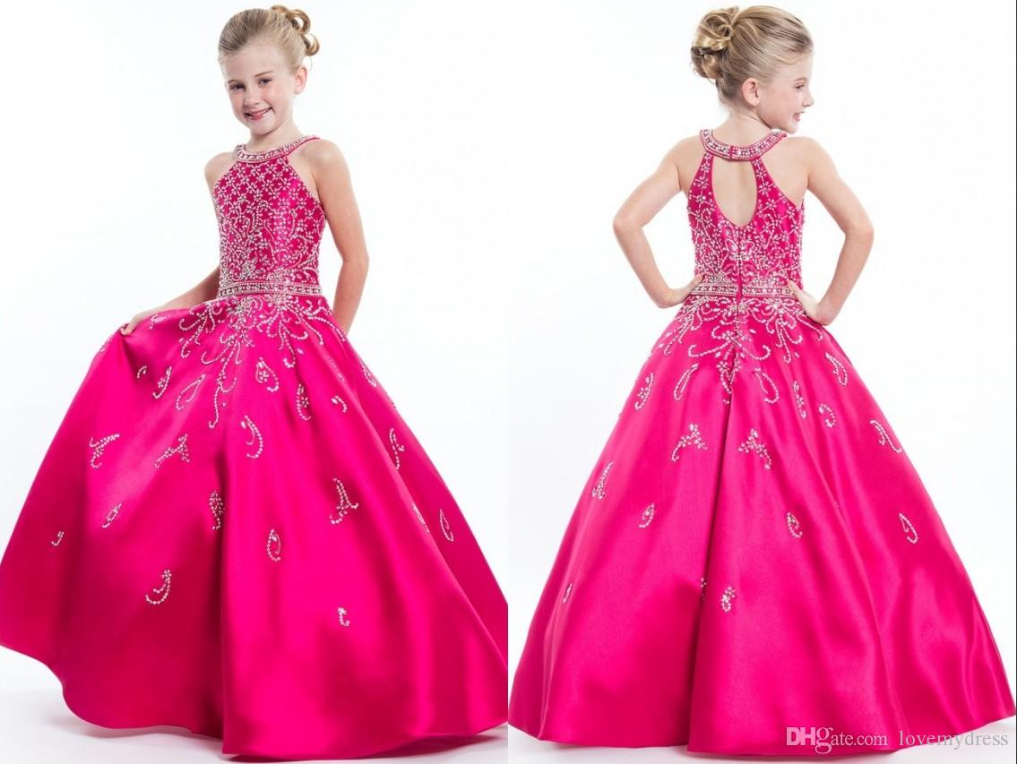 9a298d89aa7 Hot Pink A Line 2019 Halter Girls Pageant Dresses Formal Evening Prom Gowns  For Little Girls Children Crystal Beaded Satin Keyhole Back Latest Girls  Dresses ...