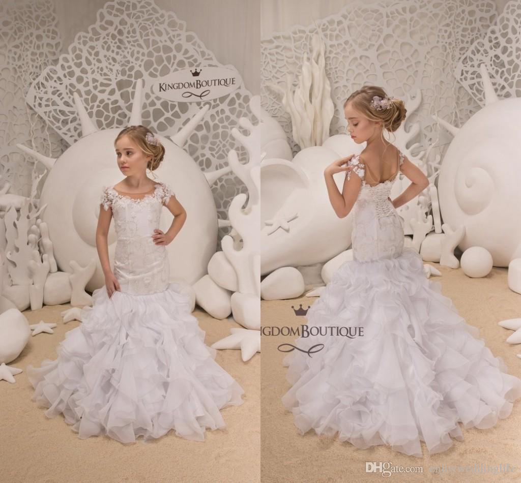 97a1a3137 Little White Lovely Short Sleeve Mermaid Flower Girl Dresses 2019 Sheer  Neck Lace Appliqued Tiered Skirts Corset Back Kids Formal Wear Young Girls  Party ...