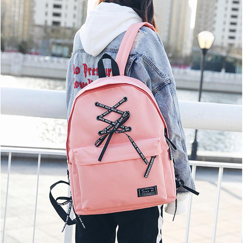 8b615685d59f 2018 Bow Design Canvas Preppy Style Backpack With Letters Ribbons School  Bags For Boys Girls Satchel Travel School Bag Jansport Backpacks School Bags  From ...