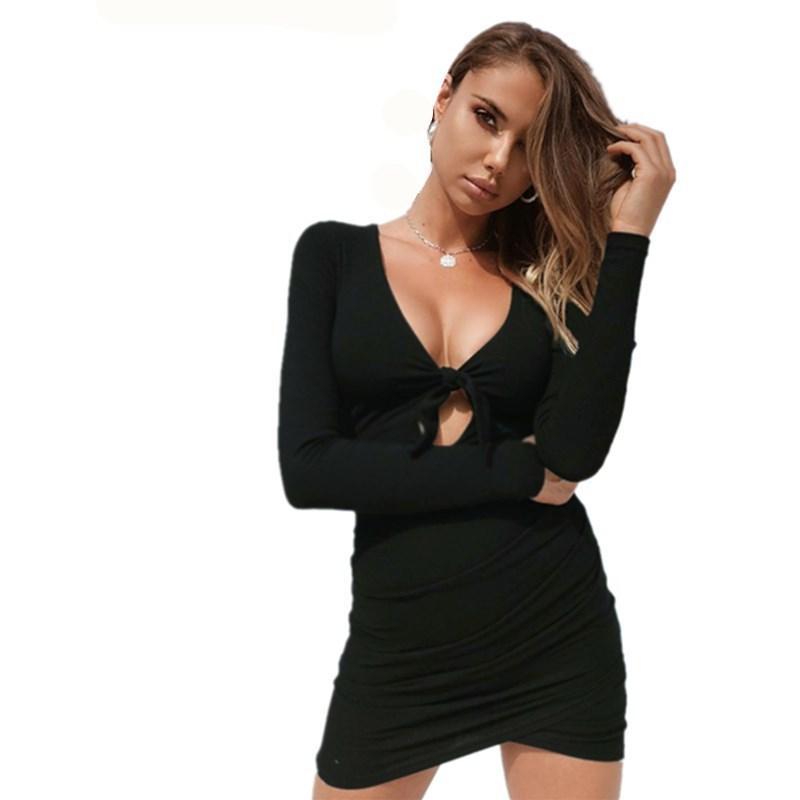 1df3ca3d48 Compre Buena Calidad Vestido De Mujer Otoño Cuello En V Correas De Pecho De  Manga Larga Hollow Sexy Bolsa De Cadera Mini Negro Vestidos Delgados De Las  ...