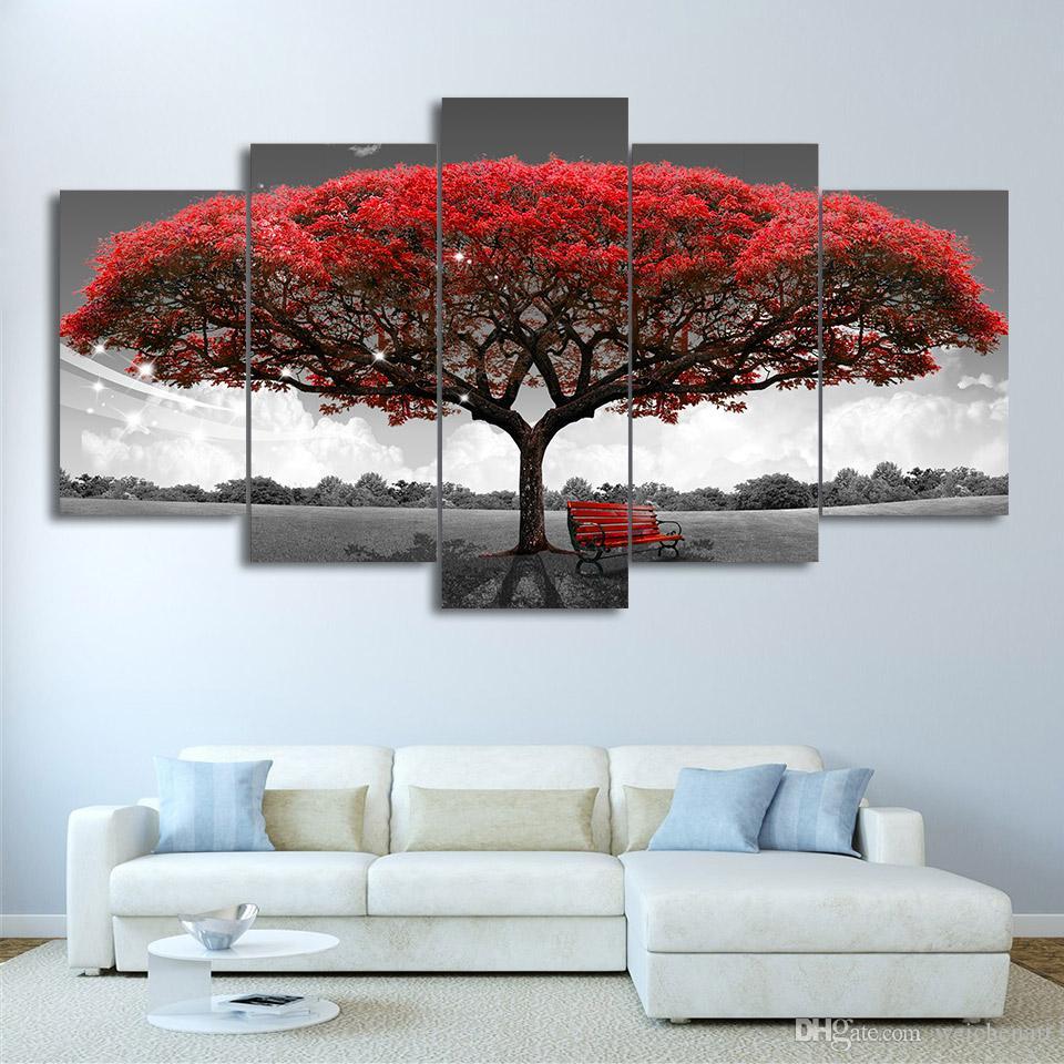 Duvar Resimleri İçin Salon Modern Wall Art Tuval Boyama Boyama 5 Adet HD Baskılı Kanvas Sanat Siyah Ve Beyaz Kırmızı Ağacı
