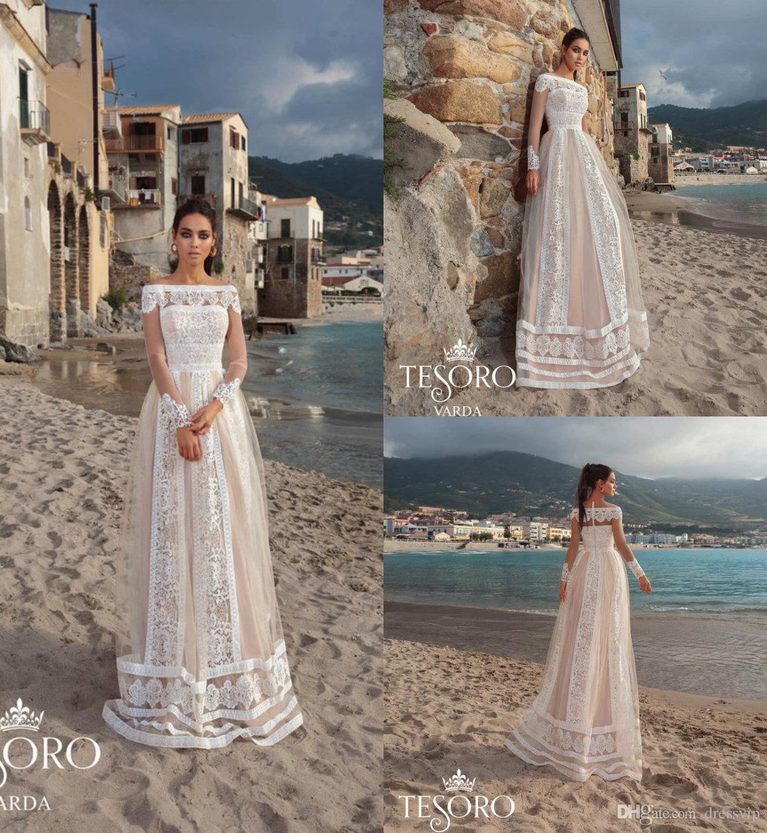 89d2470628e Discount 2019 A Line Beach Wedding Dresses Off The Shoulder Lace Appliqued  Floor Length Long Sleeve Bridal Gowns Boho Champagne Wedding Dress A Line  Wedding ...