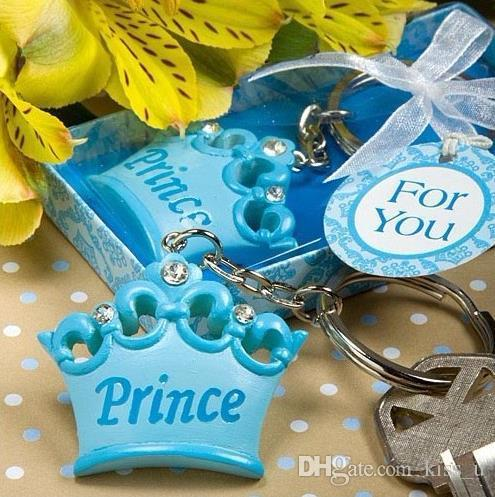 baby boy Prince Imperial crown key chain key ring keychain ribbon gift box baby shower favors souvenirs wedding gift