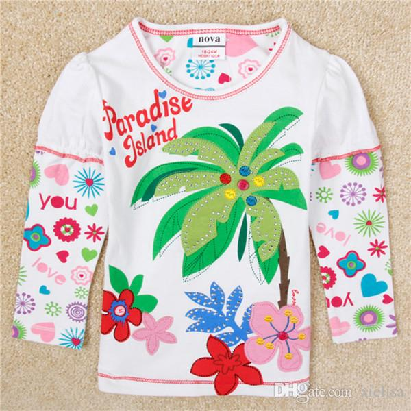 2018 coconut tree baby girls clothes girl t shirt 2018 girls fashion baby printed floral girl t shirts children clothing casual