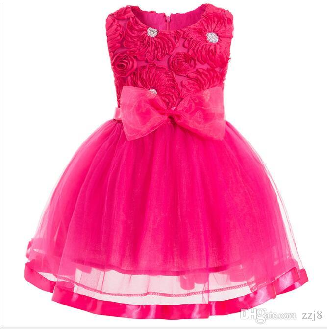 48b71fb41d9 2019 Kids Party Wear Dresses Images Flower Chest Big Bow Sash Sleeveless  Little Girls Wearing Wedding Birthday Gift For Sale From Zzj8, $14.58 |  DHgate.Com