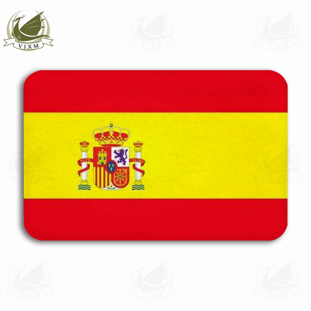 Vixm Spanish Flag With Emblem On White Background Welcome Door Mat Rugs Flannel Anti-slip Entrance Indoor Kitchen Bath Carpet