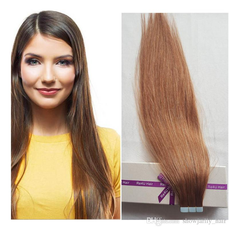 Light Brown Tape In Hair Extensions Double Sided Seamless Tape Light
