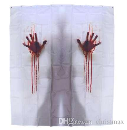 2019 Bathroom Curtain Handprints Halloween Bloody Creepy Shower Screen For Hotel Bar House Decor Home From Christmax 196