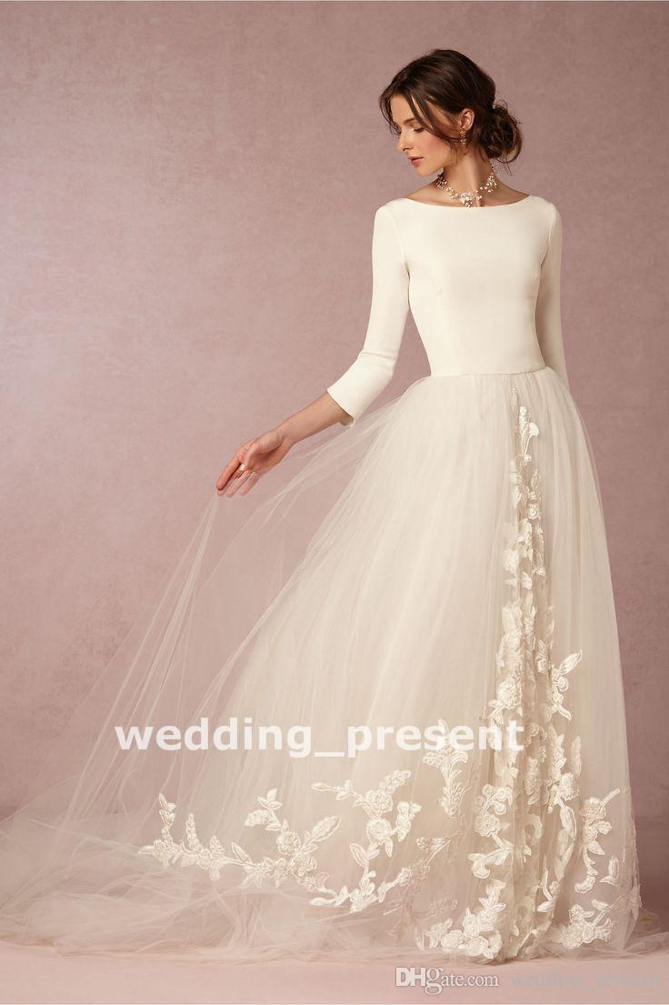 Discount New Arrival 2018 Wedding Dresses With 3/4 Long Sleeves ...