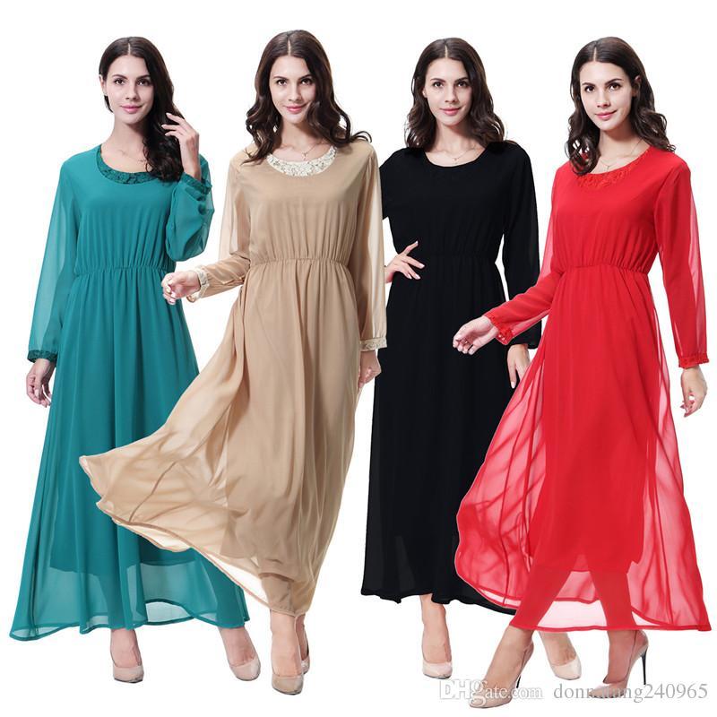 Long Sleeve Arabic Muslim Dressnew Muslim chiffon dress, Muslim Sunday  dress Lace Neck Design Arab Chiffon dress