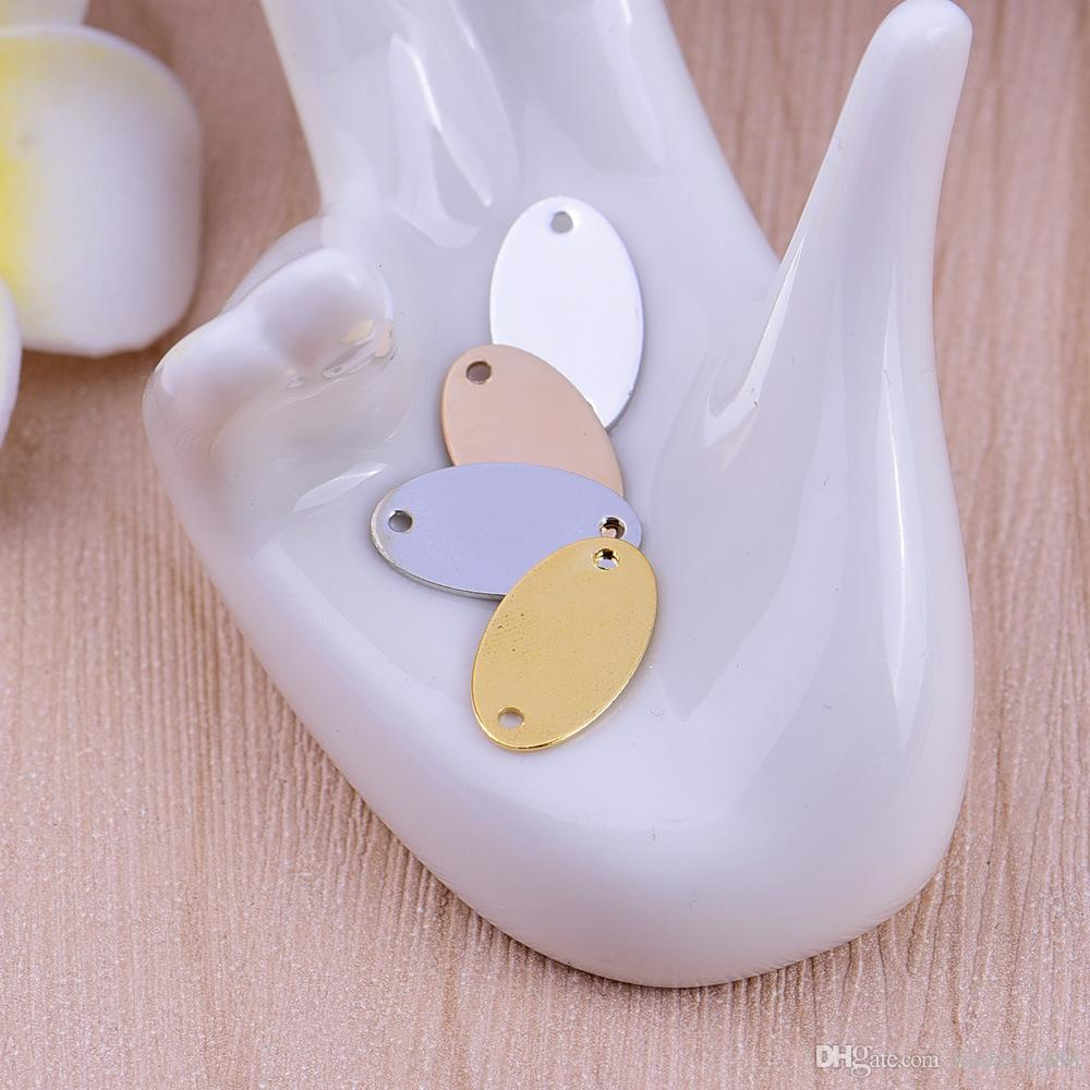 Stamping Tags Charms 4 Farben Oval Stamping Tags Anschlüsse Charme für Halskette Anhänger Schmuck handgefertigt DIY Teile Erkenntnisse Großhandel