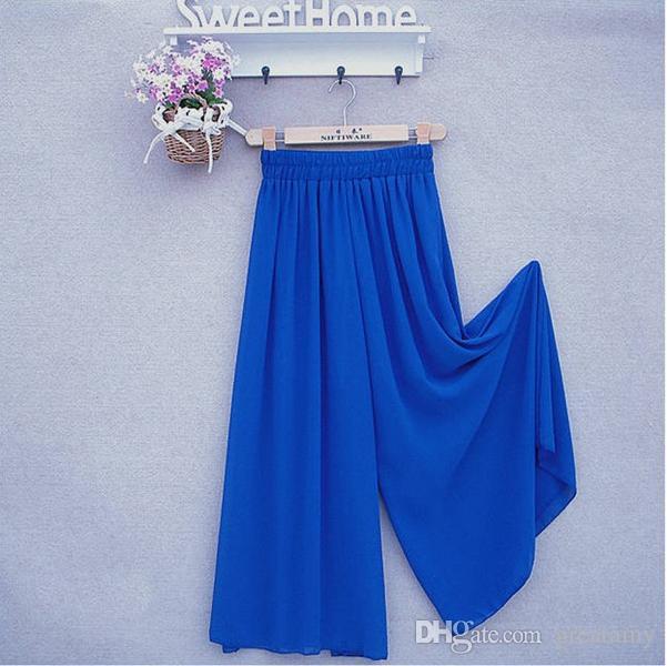 femmes pantalon long jambe large pantalon jupe en mousseline de soie solide mode sarouel jupes culottes lâche pantalon taille haute élastique