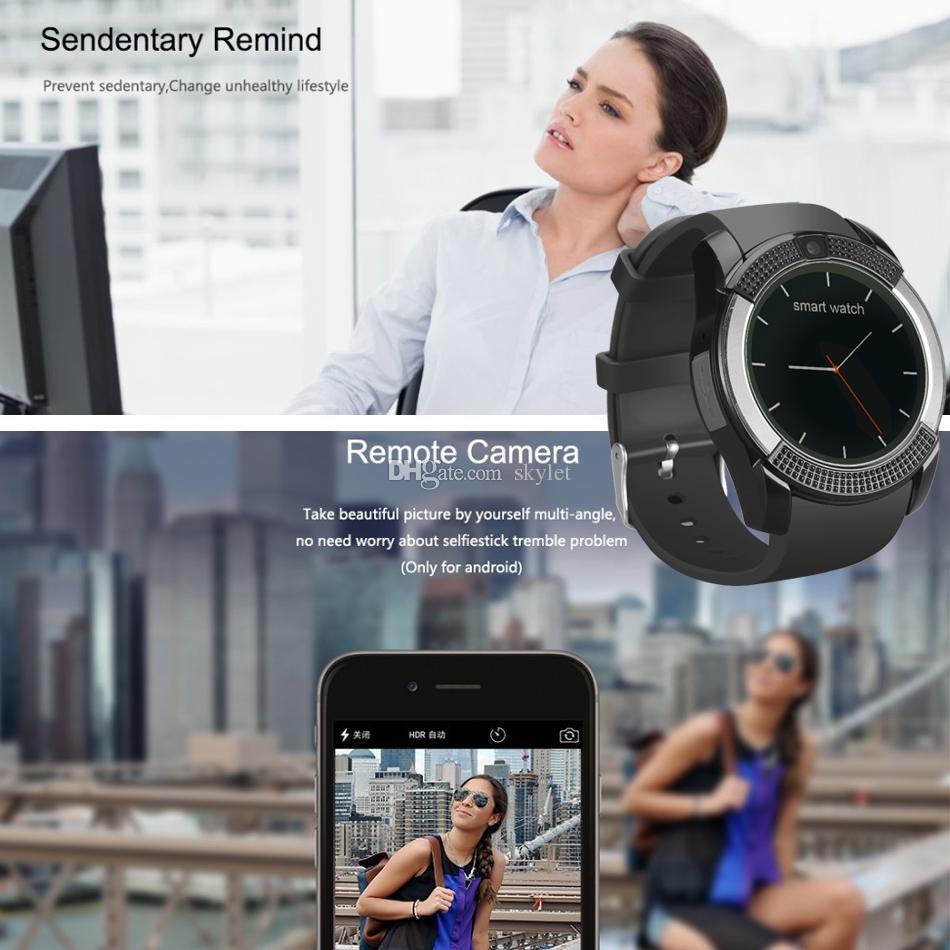 كاميرا V8 الذكية الاسوره ووتش حزام مع 0.3M SIM IPS HD دائرة عرض كامل الذكية ووتش لنظام أندرويد مع صندوق