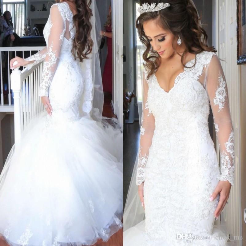 Cheap Mermaid Wedding Dresses Sexy V Neck Appliques Lace Illusion