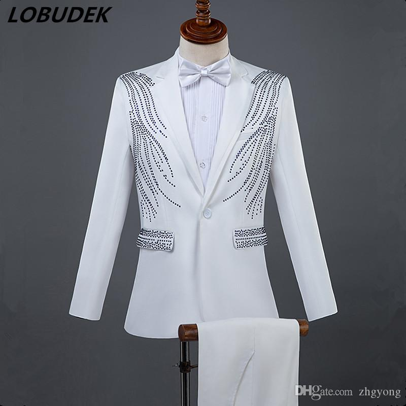 2019 Men Formal Suits Crystals Slim Blazers Pants Suit Vocal Concert Singer  Chorus Performance Costume Wedding Master Prom Compere Stage Outfits From  ... d8aa48ba917a