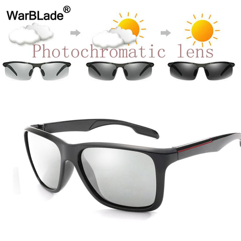 34811a94214 WarBLade New Fashion Photochromic Sunglasses Men HD Polarized Chameleon Sun  Glasses Glare Block Driving Discoloration Sunglasses Mens Sunglasses Police  ...