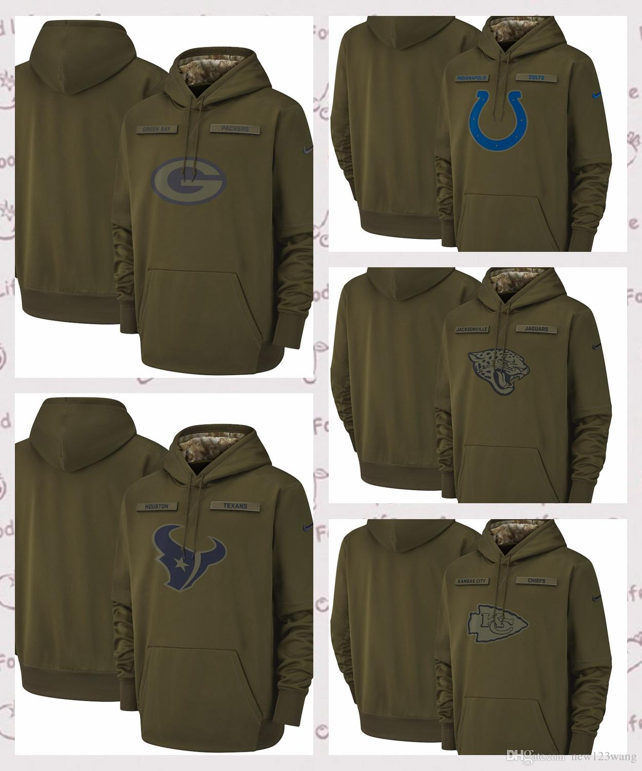 2019 Green Bay Packers Salute To Service Sideline Performance Hoodie 2018  New Army Green Men S Hoodie Rugby Team From New123wang c4d41c474