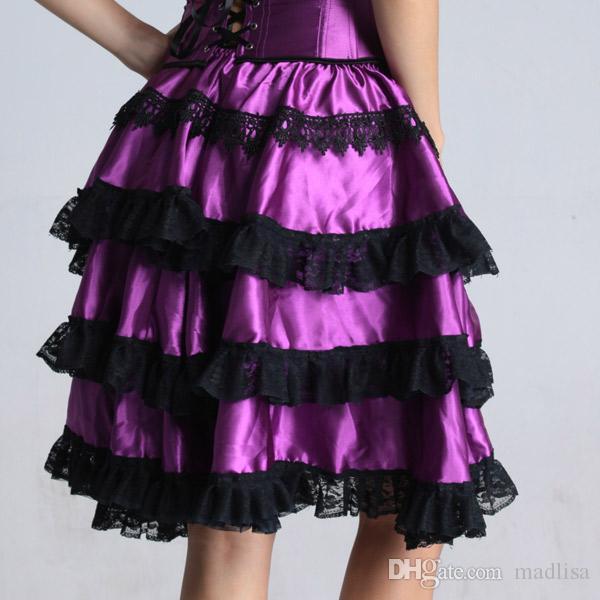 Bustle Corset Skirt Steampunk Cosplay High Low Sexy Lingerie Purple Dance Corzzet Skirt Dress Satin Evening Party Skirts 7006