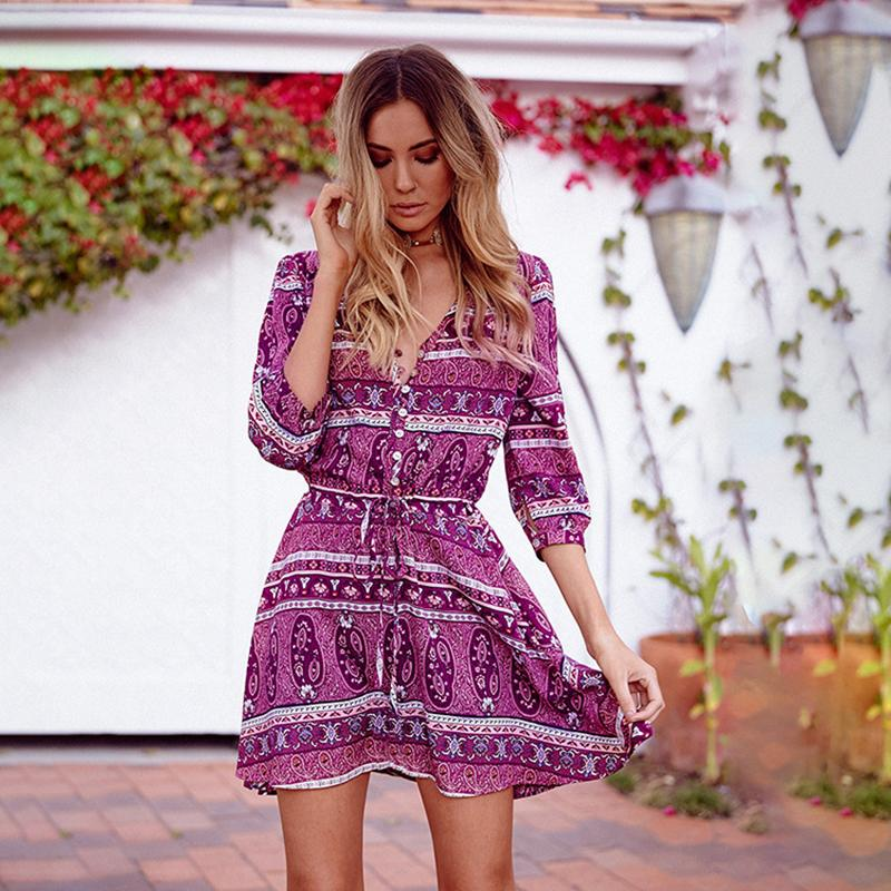 2019 women sexy boho beach dress hippie chic style summer mini v neck lace tied up vintage. Black Bedroom Furniture Sets. Home Design Ideas