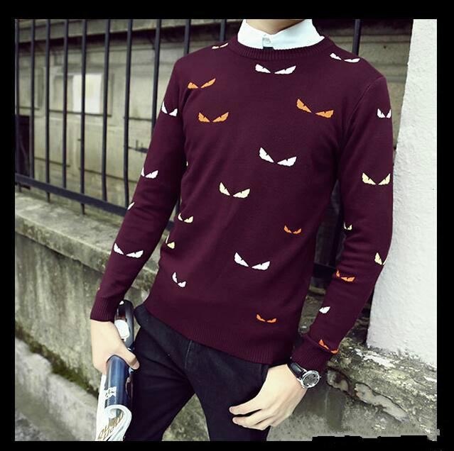 Printed Men Sweaters Fashion Cartoon Pattern Sueter Hombre O,neck Jumpers  Pullover Sweater Male Knitwear Brand Clothing